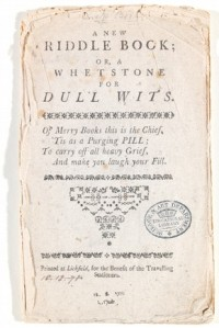 'A New Riddle Book Or a Whetstone for Dull Wits', Lichfield, Staffordshire, England, UK, about 1790.